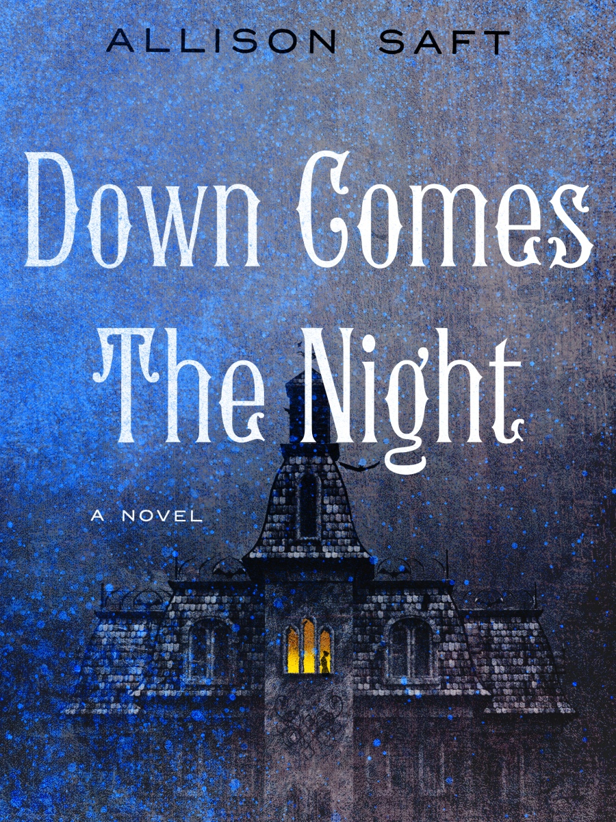 Blue book cover of Down Comes the Night with a big gothic mansion